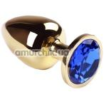 Анальная пробка с синим кристаллом SWAROVSKI Gold Sapphire Big, золотая - Фото №1