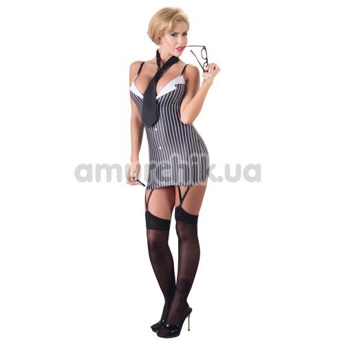 Костюм секретарши Cottelli Collection Costumes чёрно-белый: платье + галстук