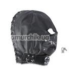 Маска с вырезами для глаз, молнией и шнуровкой, черная - Фото №1