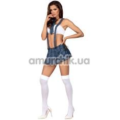 Костюм студентки Obsessive Studygirl синий: топ + юбка + стринги + чулки + галстук - Фото №1