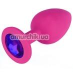 Анальная пробка с фиолетовым кристаллом SWAROVSKI Zcz M, розовая