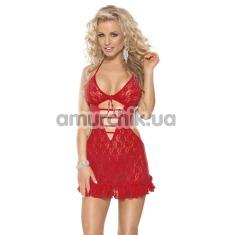 Комплект Mini Dress & String красный: комбинация + трусики-стринги (модель 6575) - Фото №1