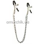 Зажимы для сосков с цепочкой Lucky Bay Nipple Play Long Chain, серебристые - Фото №1