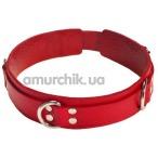 Ошейник с тремя колечками двойной sLash Slave Leather Collar, красный - Фото №1