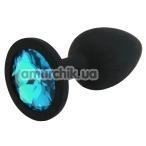 Анальная пробка с голубым кристаллом SWAROVSKI Zcz М, черная