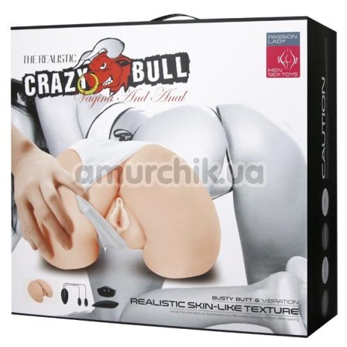 Искусственная вагина и анус с вибрацией Crazy Bull Vagina And Anal, телесная