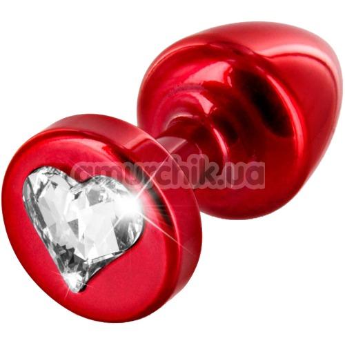 Анальная пробка с прозрачным кристаллом SWAROVSKI Anni R Heart T1, красная - Фото №1