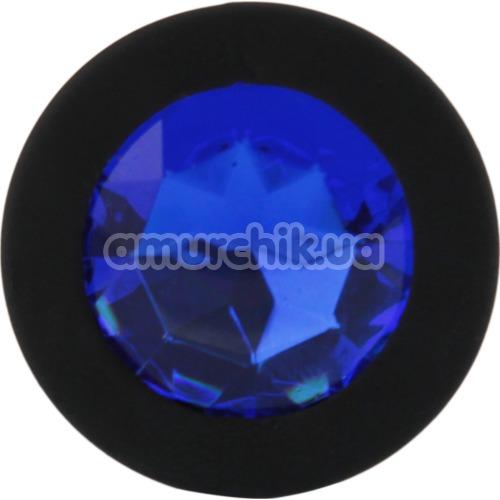 Анальная пробка с синим кристаллом SWAROVSKI Zcz, черная