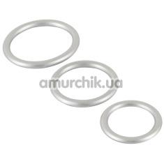 Набор из 3 эрекционных колец Metallic Silicone Cock Ring Set, серебряный - Фото №1