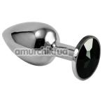 Анальная пробка с черным кристаллом Rosebud Classic Metal Plug S, серебряная - Фото №1