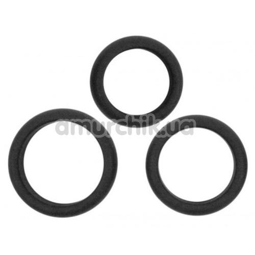 Набор эрекционных колец Hombre Xtra Stretch Silicone C-Bands, черный - Фото №1