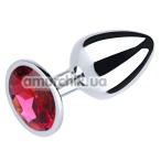 Анальная пробка с красным кристаллом SWAROVSKI Silver Pink-Rhodolite Big, серебряная - Фото №1