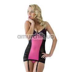 Комплект Casey, черно-розовый: комбинация + трусики-стринги - Фото №1