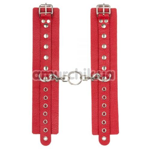 Наручники sLash Leather Double Fix Hand Cuffs, красные