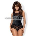 Комплект Obsessive Miamor черный: корсет + трусики-стринги - Фото №1