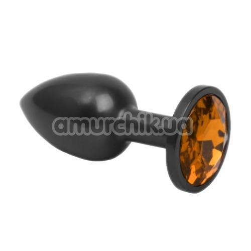 Анальная пробка с оранжевым кристаллом SWAROVSKI Zcz M, черная матовая