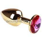 Анальная пробка с розовым кристаллом SWAROVSKI Gold Pink-Rhodolite Small, золотая
