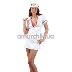 Костюм медсестры Cottelli Collection Costumes 2470616 белый: халатик + шапочка - Фото №1