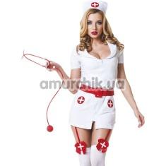 Костюм медсестры с красным поясом LeFrivole Nurse Costume, белый - Фото №1
