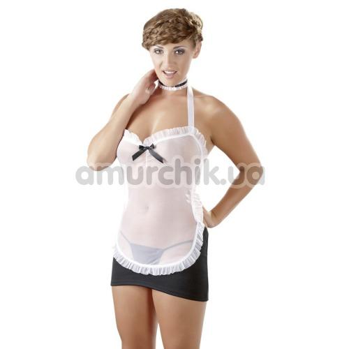Костюм горничной Cottelli Collection 2470438 чёрный: мини-платье + трусики-стринги + чокер - Фото №1
