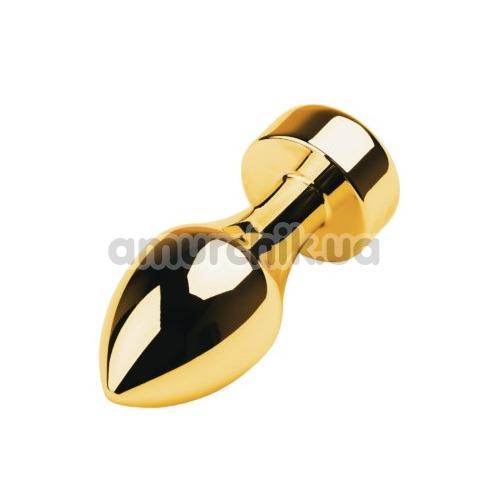 Анальная пробка с прозрачным кристаллом Toyfa Metal 717033-10, золотая
