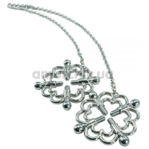 Зажимы для сосков Loveshop Erotic Flower, серебряные