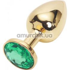 Анальная пробка с зеленым кристаллом SWAROVSKI, 7.5 см гладкая золотая - Фото №1