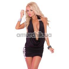 Платье Diamond Drape Mini Dress, черное - Фото №1