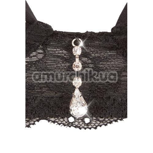 Комплект Cottelli Collection Alberta Fina 6 черный: бюстгальтер + трусики-стринги + пояс для чулок