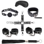 Бондажный набор sLash BDSM Soft Genuine Leather Bondage Set, чёрный - Фото №1