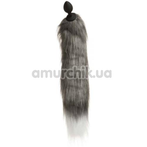 Анальная пробка с хвостом лисы Loveshop S, черная
