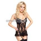 Комплект Elodie черный: корсет + трусики-стринги - Фото №1