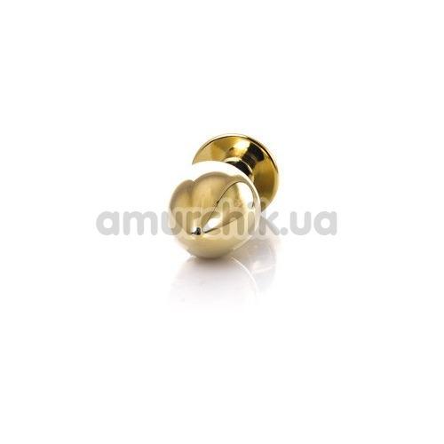 Анальная пробка с прозрачным кристаллом Toyfa Metal 717034-10, золотая