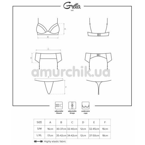 Комплект Obsessive Gretia Set чёрный: бюстгальтер + трусики-стринги + пояс для чулок