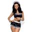 Костюм горничной Obsessive Maid черный: топ + юбка + стринги + браслеты - Фото №2