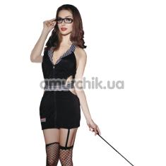 Костюм учительницы Teacher Costume чёрный: платье + чулки + трусики + очки + указка - Фото №1