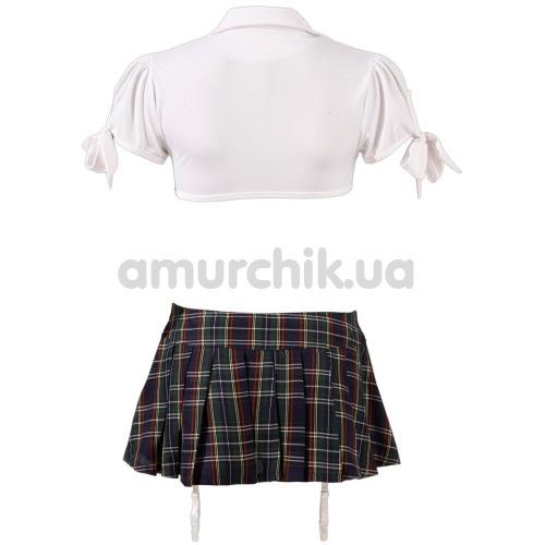 Костюм школьницы Cottelli Collection Costumes 2470250 синий: топ + мини-юбка + трусики + галстук
