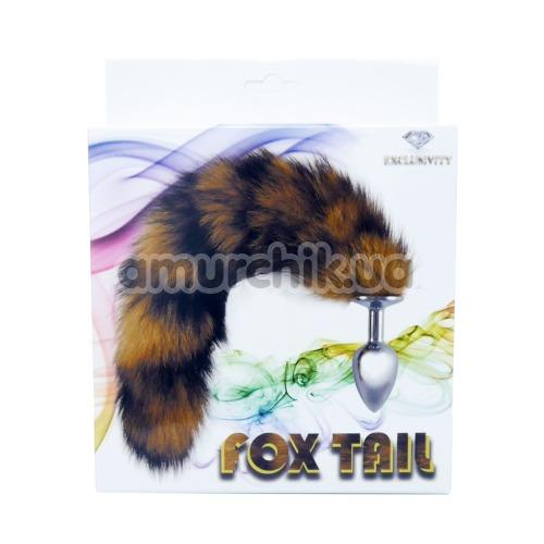 Анальная пробка с коричневым хвостиком Boss Series Fox Tail XL, серебряная