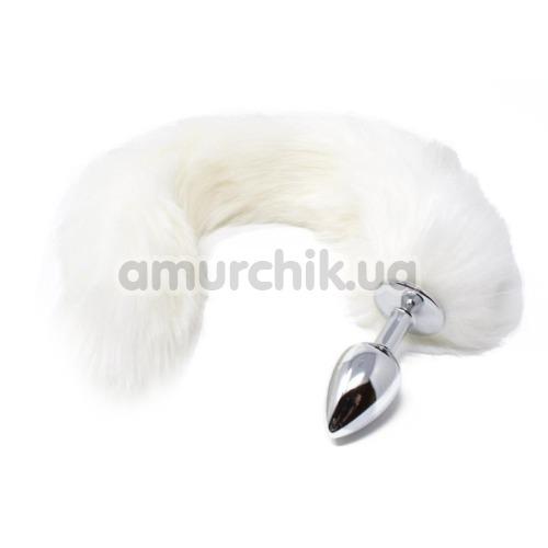 Анальная пробка с белым хвостиком Boss Series Fox Tail XL, серебряная