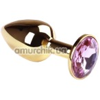 Анальная пробка с розовым кристаллом SWAROVSKI Gold Pink Topaz Small, золотая - Фото №1