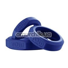 Набор из 3 эрекционных колец Tom of Finland 3 Piece Silicone Cock Ring Set, синий - Фото №1