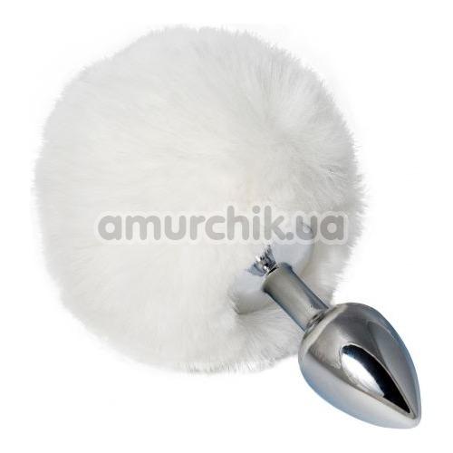 Анальная пробка с белым хвостиком sLash Honey Bunny Tail S, серебряная