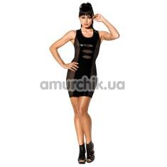 Мини-платье Avanza Vinyl Dress с лакированными вставками, черное - Фото №1