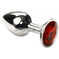 Анальная пробка с красным кристаллом SWAROVSKI Silver Ruby Small, серебряная