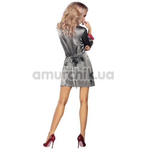 Комплект Livia Corsetti Fashion Platinum серый: пеньюар + халатик + трусики-стринги