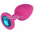 Анальная пробка с голубым кристаллом SWAROVSKI Zcz M, розовая - Фото №1