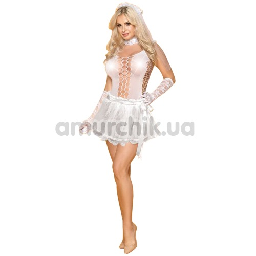 Костюм невесты JSY Sexy Lingerie белый: боди + юбка + чокер + фата + перчатки - Фото №1