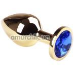 Анальная пробка с синим кристаллом SWAROVSKI Gold Sapphire Middle, золотая - Фото №1