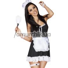 Костюм горничной Chilirose (модель CR-3626) черный: платье + фартук + трусики-стринги + ободок + манжеты + подвязка + перышко для ласк - Фото №1