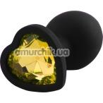 Анальная пробка с желтым кристаллом Silicone Jewelled Butt Plug Heart Small, черная